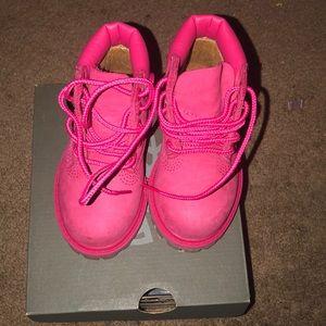 Toddler Girls Pink Timberlands Barley Worn 6c